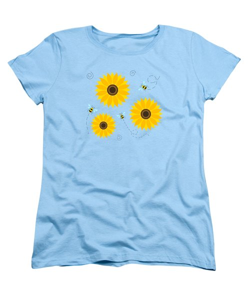 Busy Bees And Sunflowers - Large Women's T-Shirt (Standard Cut) by Shara Lee