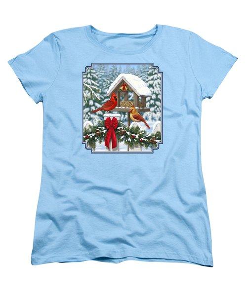 Cardinals Christmas Feast Women's T-Shirt (Standard Cut) by Crista Forest