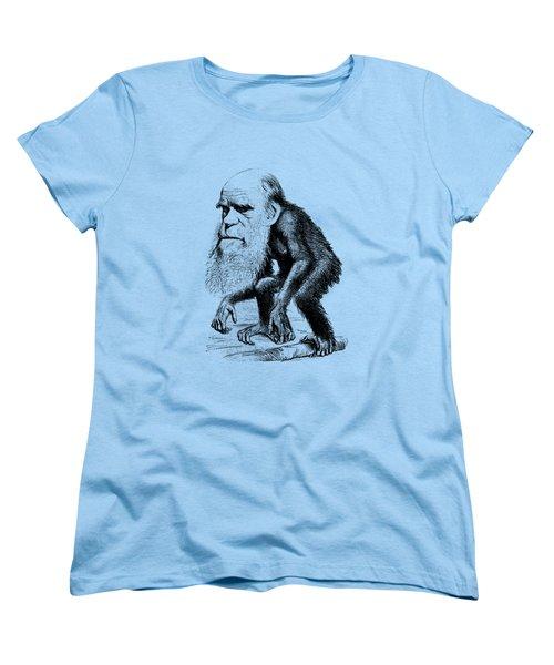 Charles Darwin As An Ape Cartoon Women's T-Shirt (Standard Cut) by War Is Hell Store
