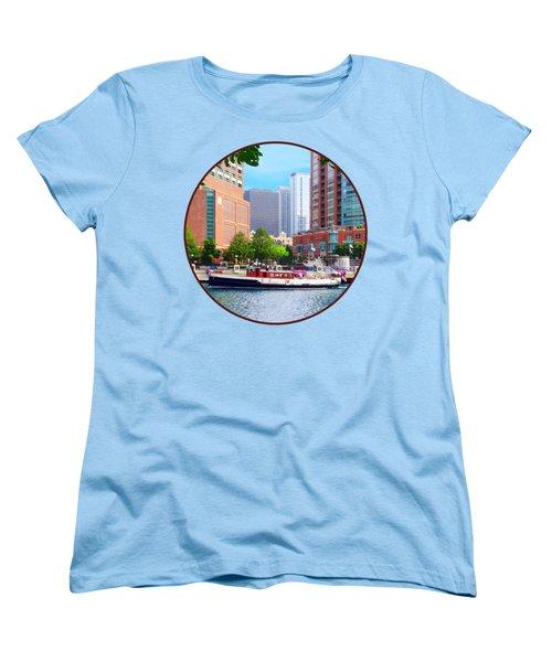 Chicago Il - Chicago River Near Centennial Fountain Women's T-Shirt (Standard Cut) by Susan Savad