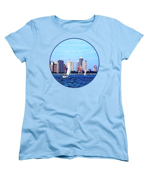 Chicago Il - Two Sailboats Against Chicago Skyline Women's T-Shirt (Standard Cut) by Susan Savad