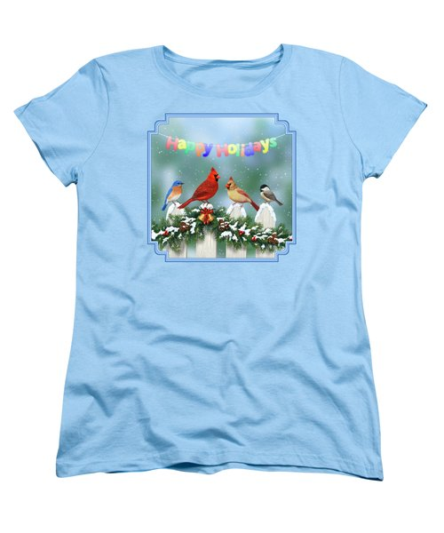 Christmas Birds And Garland Women's T-Shirt (Standard Cut) by Crista Forest