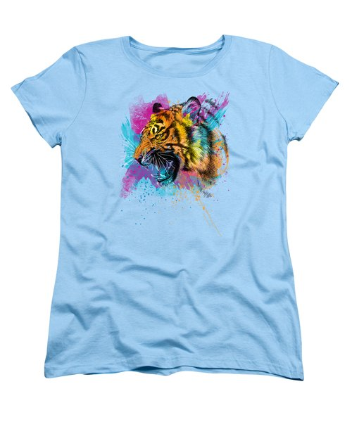Crazy Tiger Women's T-Shirt (Standard Cut) by Olga Shvartsur