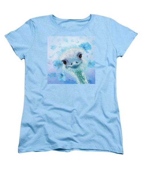 Curious Ostrich Women's T-Shirt (Standard Cut) by Jan Matson