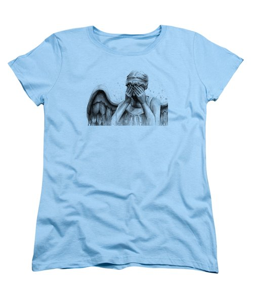 Doctor Who Weeping Angel Don't Blink Women's T-Shirt (Standard Cut) by Olga Shvartsur