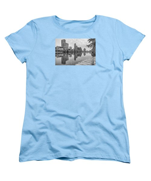 Downtown Austin In Black And White Across Lady Bird Lake - Colorado River Texas Hill Country Women's T-Shirt (Standard Cut) by Silvio Ligutti