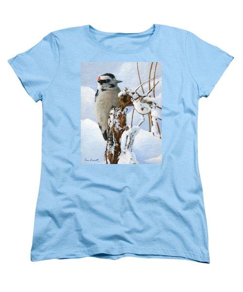 Downy Woodpecker  Women's T-Shirt (Standard Cut) by Ken Everett
