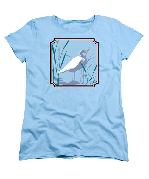 Egret Tropical Abstract - Square Format Women's T-Shirt (Standard Cut) by Walt Curlee