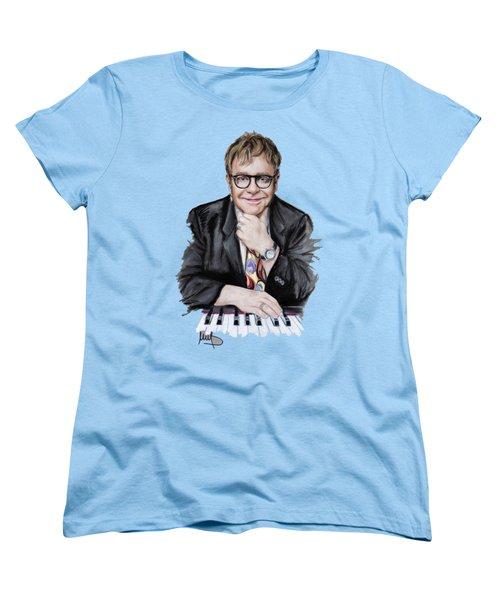 Elton John Women's T-Shirt (Standard Cut) by Melanie D