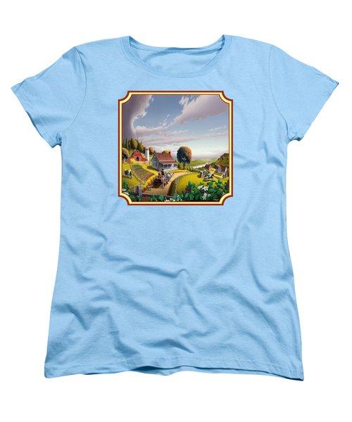 Farm Americana - Farm Decor - Appalachian Blackberry Patch - Square Format - Folk Art Women's T-Shirt (Standard Cut) by Walt Curlee