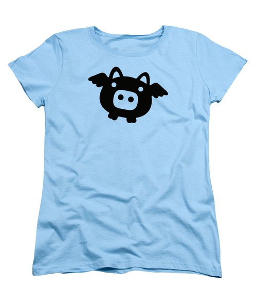 Flying Pig - Black Women's T-Shirt (Standard Cut) by Julia Jasiczak