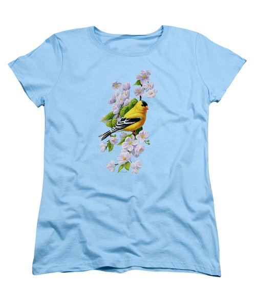 Goldfinch Blossoms Greeting Card 1 Women's T-Shirt (Standard Cut) by Crista Forest
