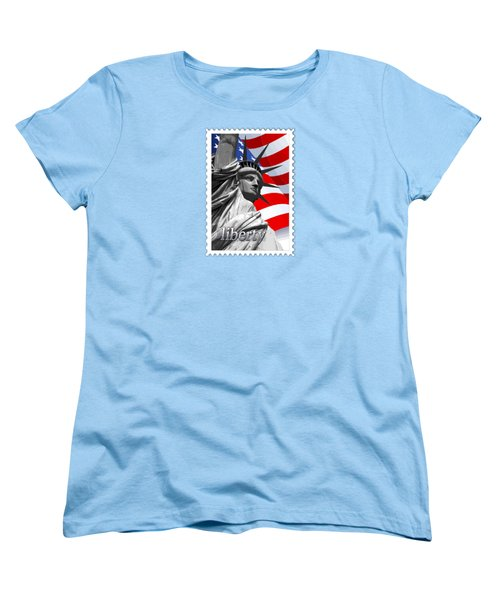 Graphic Statue Of Liberty With American Flag Text Liberty Women's T-Shirt (Standard Cut) by Elaine Plesser