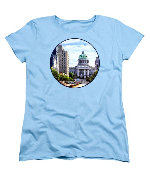 Harrisburg Pa - Capitol Building Seen From State Street Women's T-Shirt (Standard Cut) by Susan Savad