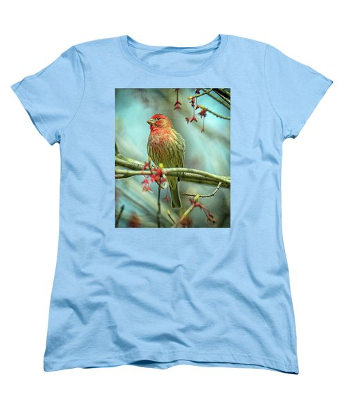 Women's T-Shirt (Standard Cut) featuring the photograph House Finch In Spring by Rodney Campbell