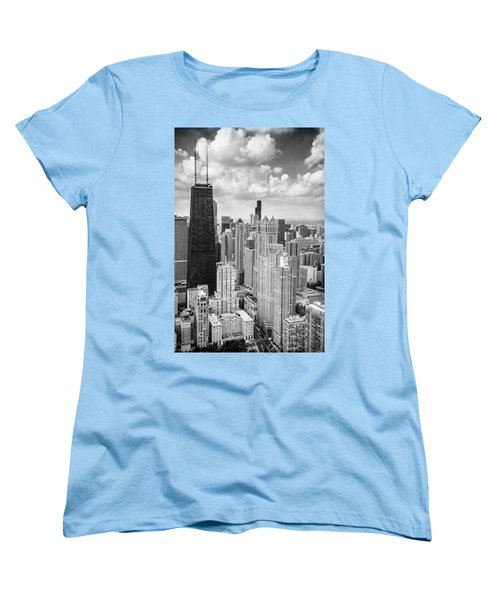 John Hancock Building In The Gold Coast Black And White Women's T-Shirt (Standard Cut) by Adam Romanowicz