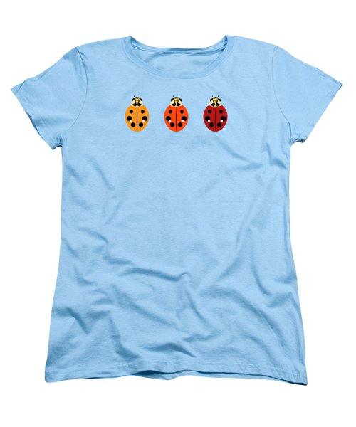 Ladybug Trio Horizontal Women's T-Shirt (Standard Cut) by MM Anderson