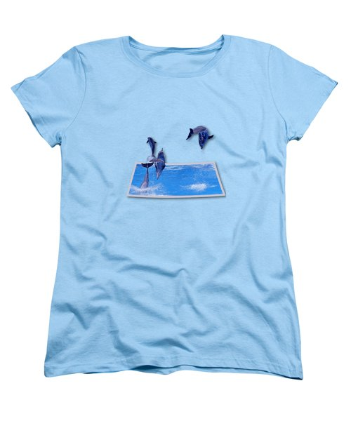 Leaping Dolphins Women's T-Shirt (Standard Cut) by Roger Wedegis