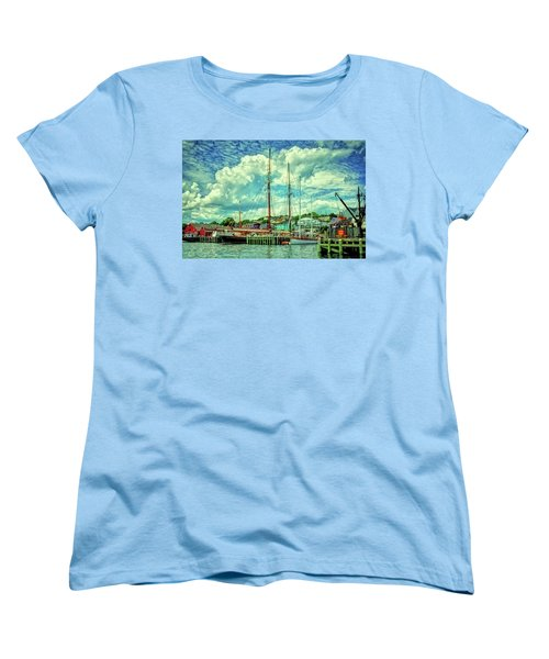 Women's T-Shirt (Standard Cut) featuring the photograph Lunenburg Harbor by Rodney Campbell