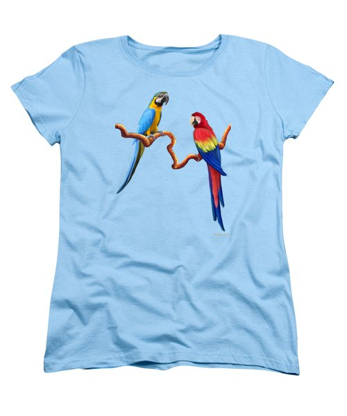Macaw Tropical Parrots Women's T-Shirt (Standard Cut) by Glenn Holbrook