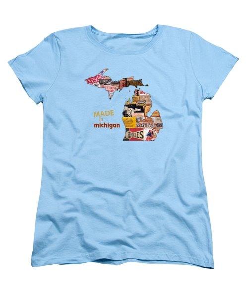 Made In Michigan Products Vintage Map On Wood Women's T-Shirt (Standard Cut) by Design Turnpike