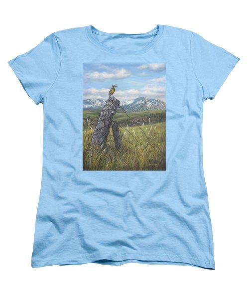 Meadowlark Serenade Women's T-Shirt (Standard Cut) by Kim Lockman