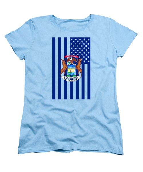 Michigan State Flag Graphic Usa Styling Women's T-Shirt (Standard Cut) by Garaga Designs