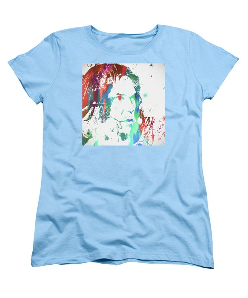 Neil Young Paint Splatter Women's T-Shirt (Standard Cut) by Dan Sproul