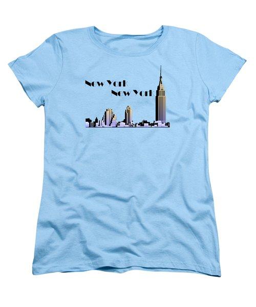 New York New York Skyline Retro 1930s Style Women's T-Shirt (Standard Cut) by Heidi De Leeuw