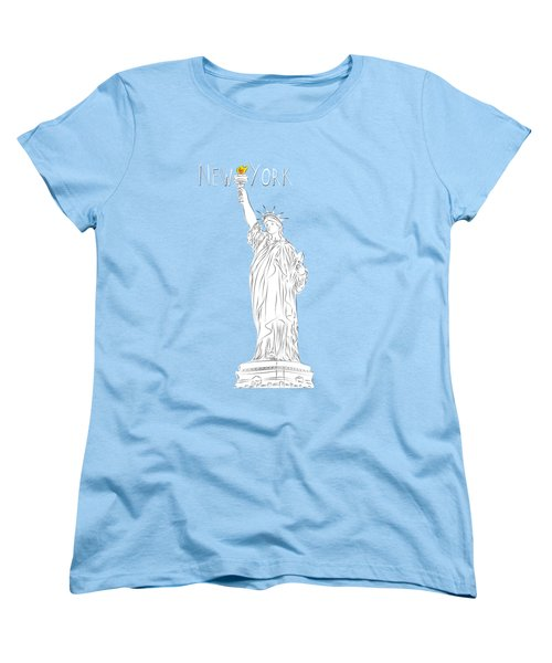 Ny Statue Of Liberty Line Art Women's T-Shirt (Standard Cut) by Bekare Creative