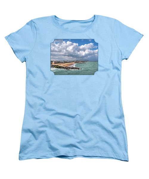 Ocean View - Colorful Beach Huts Women's T-Shirt (Standard Cut) by Gill Billington