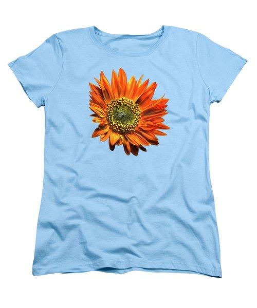 Orange Sunflower Women's T-Shirt (Standard Cut) by Christina Rollo