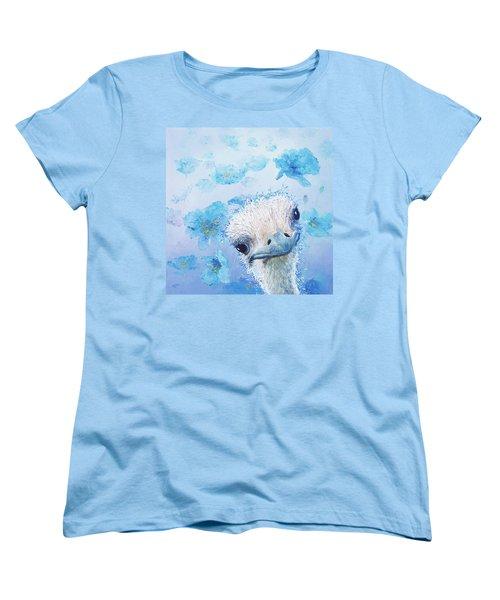 Ostrich In A Field Of Poppies Women's T-Shirt (Standard Cut) by Jan Matson