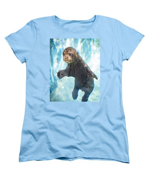 Otter Cuteness Women's T-Shirt (Standard Cut) by Jamie Pham
