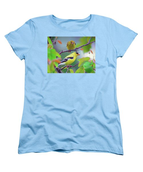 Women's T-Shirt (Standard Cut) featuring the photograph Pair Of Goldfinches by Rodney Campbell