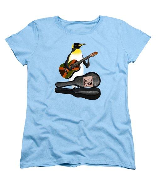 Penguin Busker Women's T-Shirt (Standard Cut) by Early Kirky