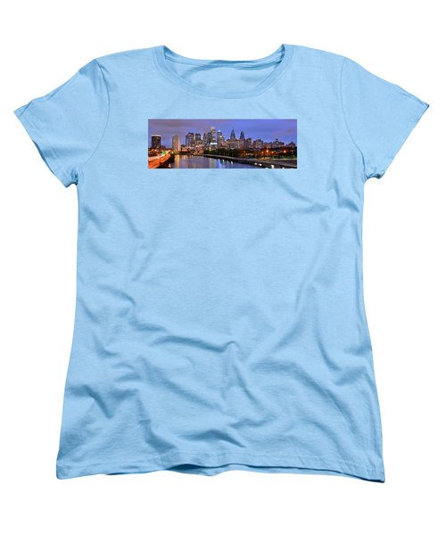Philadelphia Philly Skyline At Dusk From Near South Color Panorama Women's T-Shirt (Standard Cut) by Jon Holiday
