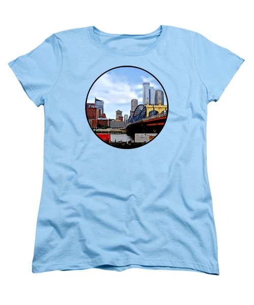 Pittsburgh Pa - Train By Smithfield St Bridge Women's T-Shirt (Standard Cut) by Susan Savad