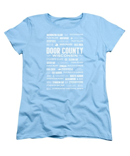 Places Of Door County On Blue Women's T-Shirt (Standard Cut) by Christopher Arndt