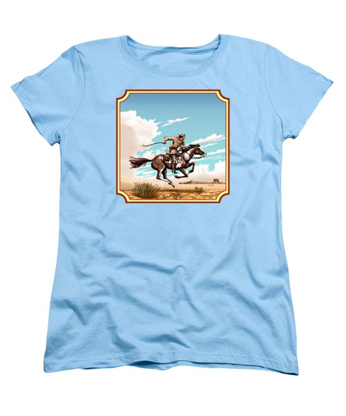 Pony Express Rider - Western Americana - Square Format Women's T-Shirt (Standard Cut) by Walt Curlee