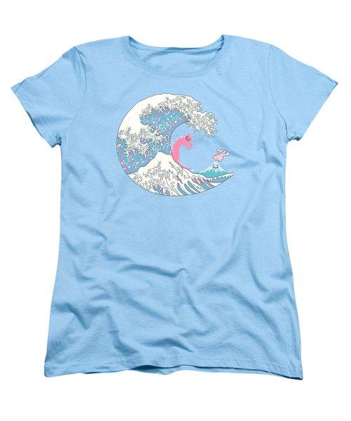 Psychodelic Bubblegum Kunagawa Surfer Cat Women's T-Shirt (Standard Cut) by Julia Jasiczak