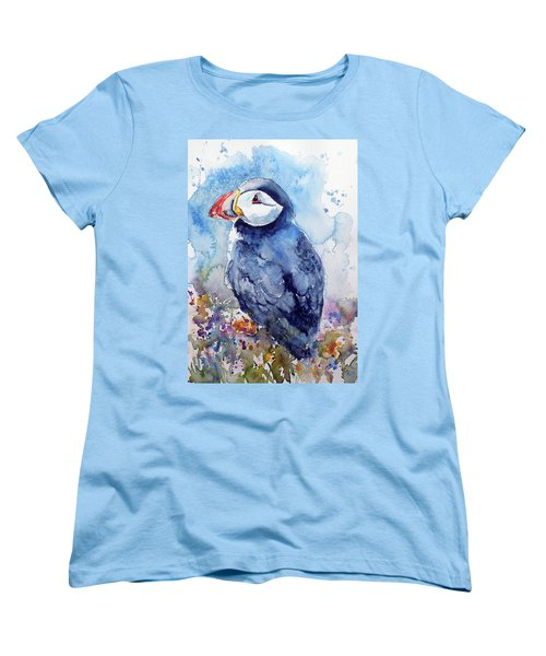Puffin With Flowers Women's T-Shirt (Standard Cut) by Kovacs Anna Brigitta