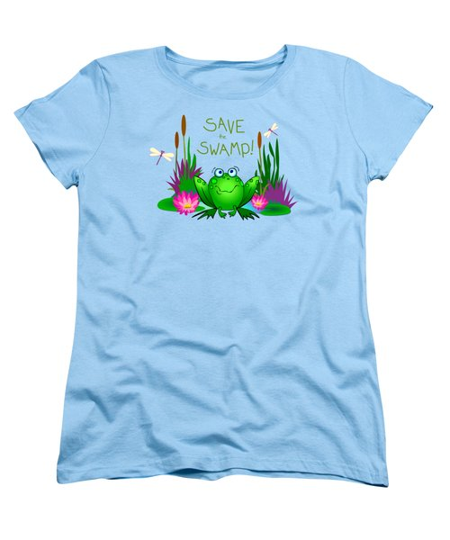 Save The Swamp Twitchy The Frog Women's T-Shirt (Standard Cut) by M Sylvia Chaume