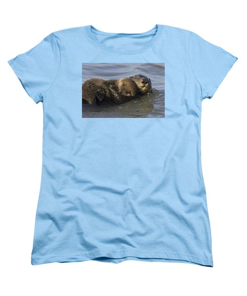 Sea Otter Mother With Pup Monterey Bay Women's T-Shirt (Standard Cut) by Suzi Eszterhas