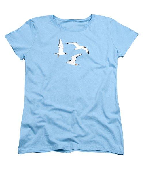 Seagulls Gathering At The Cricket Women's T-Shirt (Standard Cut) by Elizabeth Tuck
