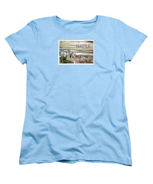 Seattle Skyline In Fog And Rain Text Seattle Women's T-Shirt (Standard Cut) by Elaine Plesser
