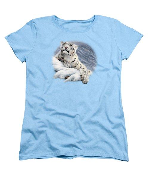 Snow Leopard Women's T-Shirt (Standard Cut) by Lucie Bilodeau