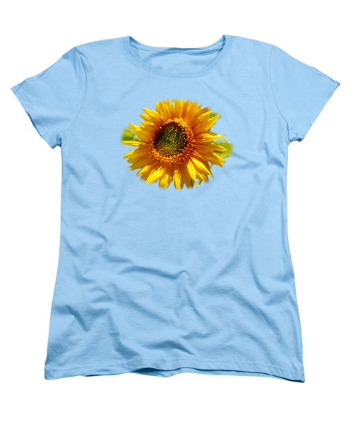 Sunny Sunflower Square Women's T-Shirt (Standard Cut) by Christina Rollo