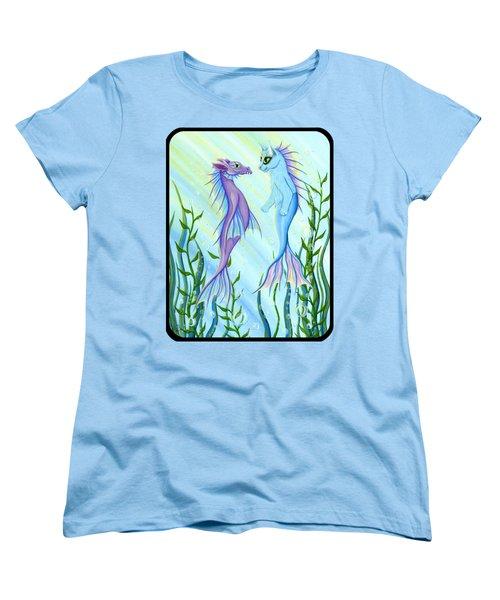 Sunrise Swim - Sea Dragon Mermaid Cat Women's T-Shirt (Standard Cut) by Carrie Hawks