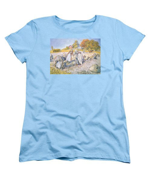 The Children Filled The Buckets And Baskets With Potatoes Women's T-Shirt (Standard Cut) by Carl Larsson